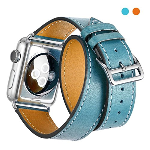 SHANG BAI for Apple Watch Band,Double Tour Genuine Leather Replacement Watch band Stainless Metal Clasp for Apple Watch Series 3/2/1 (Blue, - Apple Wrap