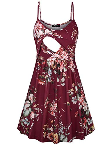 Quinee Nursing Dresses for Women Breastfeeding, Latched Mama Loose Fitting Postpartum Pregnant Dress with Double Layers Mid Length A Line Soft Maternity Clothing Wine Red Floral M