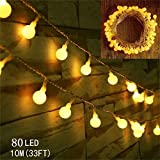 Globe String Lights,WONFAST 10M 80 LED Warm White Battery Operated Fairy String Lights Starry Ball Decorative Lights for Christmas Party Wedding Indoor/Outdoor Lighting