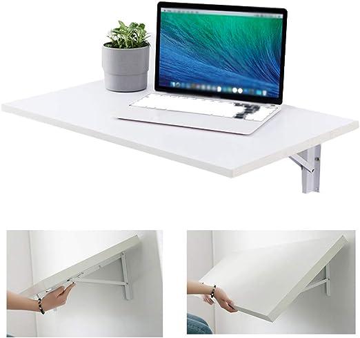 Mesa blanca montada en la pared, mesa plegable plegable de banco de trabajo montada en la pared, escritorio económico multifuncional plegable para computadora con orificio para alambre, tamaño opcio: Amazon.es: Hogar