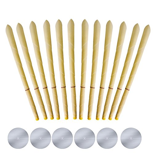 WonBuss All Natural Beeswax Cylinders Candling Cones 100% Non-Toxic Beeswax Candles -12 Pack- 6 Protective Disk Included