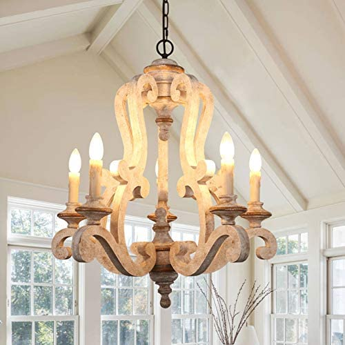 Distressed White Wooden Chandelier Traditional French Country Empire Pendant Light 5-Lights Candle Wood Chandelier, Adjustable Chain