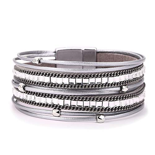 (KSQS Boho Multilayer Leather Wrap Bracelets Gorgeous Handmade Braided Wrap Cuff Magnetic Buckle Casual Bangle for Women&Girl Gift)