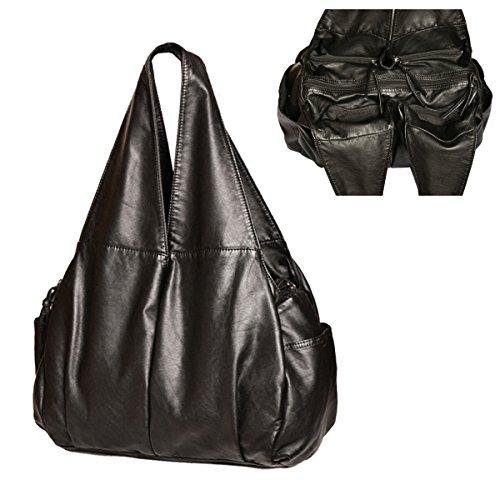 XMRS Women Large Hobo Bags Washed Leather Handbag Purse Multiple Pockets Shoulder Totes Waterproof Shopping Bag ()