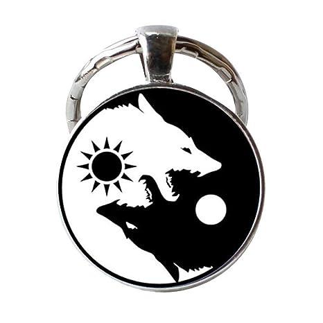 Amazon.com: Ying Yang llavero negro y blanco lobo llavero ...