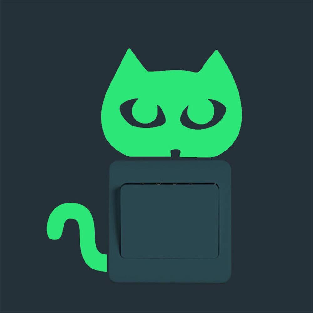iLUGU Cute Creative Kitten Cat Luminous Noctilucent Glow Switch Wall Sticker Home