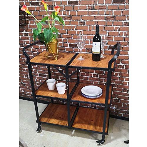 Folding Industrial Bar Cart 3-Tier Rolling Kitchen Serving Cart Portable Dining Cart On Wheels Wine Rack for Home Hotel Restaurant Wood & Metal Frame