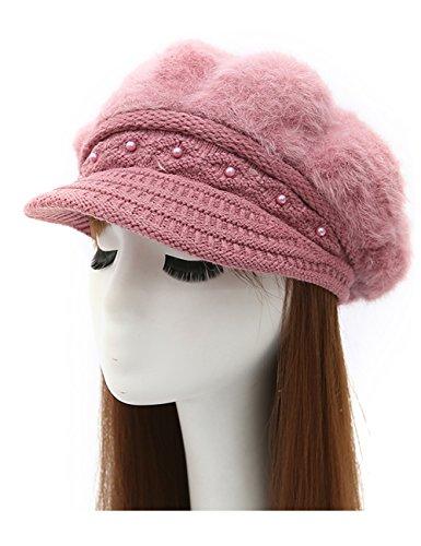 Epsion Women Winter Knit Crochet Newsboy Caps Lady Warm Pearl Knit Beanie Hat by Epsion (Image #5)