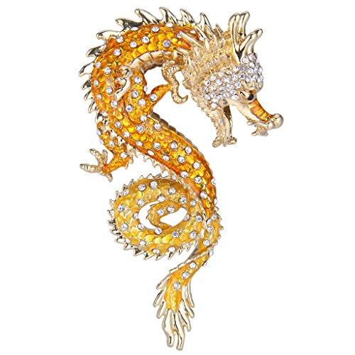 EVER FAITH Women's Austrian Crystal Enamel Powerful Dragon Brooch Orange Gold-Tone