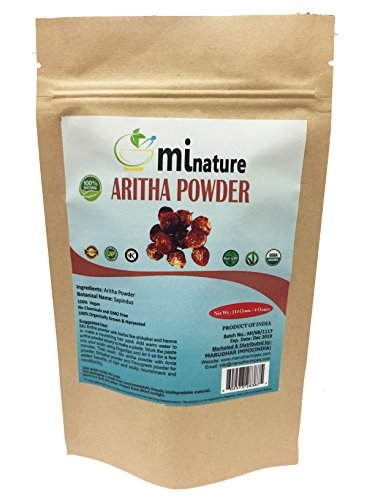 mi nature USDA CERTIFIED Organic Aritha Powder/Soap nut Powder(SAPINDUS MUKOROSSI)FOR SILKY HAIRS / 100% Pure, Natural and Organic - (114g) / 4 ounces) - OXO / BIODEGRADABLE Resealable Zip Lock Pouch