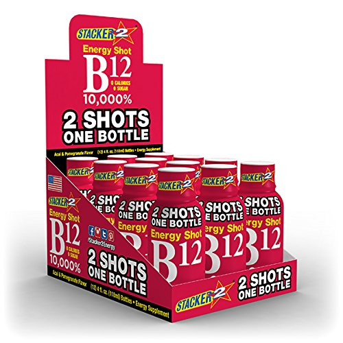 B12 ENERGY SHOT 4OZ (NOT 2OZ) 10,000% , ACAI & POMEGRANATE BY STACKER 2 (LOT OF 12 PIECES) FREE SHIPPING by STACKER 2
