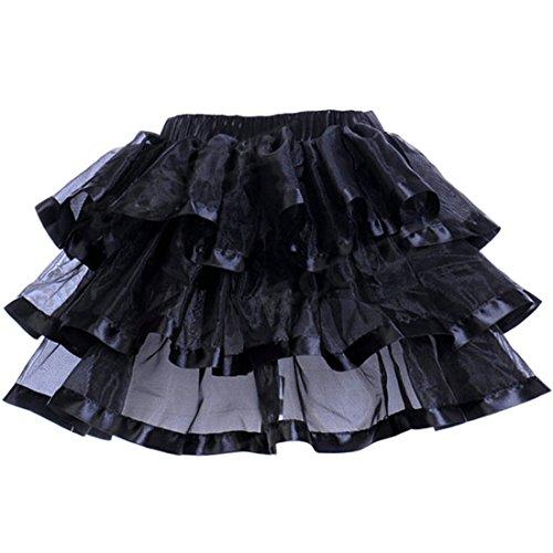 Noir satin Tutu couches 3 Jupes rouge blanc Jupe bord rose en jupe bleu tulle Femmes noir avec qrq6Awax