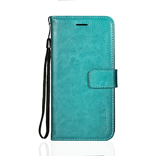Price comparison product image Galaxy S9 Plus Case,  HLCT PU Leather Case,  With Soft TPU Protective Bumper,  Built-In Stand Kickstand,  Cash And Card Pockets (Teal)