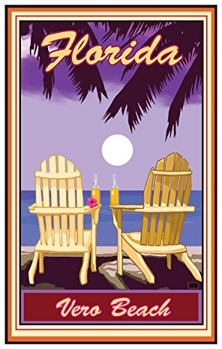 Vero Beach Florida Adirondack Chairs Palms Corona Travel Art Print Poster by Joanne Kollman (12
