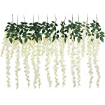 Foraineam-32-Feet-Artificial-Wisteria-Vine-Rattan-Garland-Hanging-Fake-Silk-Flowers-String-Home-Party-Wedding-Decor-Pack-of-12-White