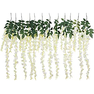 Foraineam 3.2 Feet Artificial Wisteria Vine Rattan Garland Hanging Fake Silk Flowers String Home Party Wedding Decor, Pack of 12 (White) 10