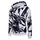 HTHJSCO Men's Hooded Shirts Casual Slim Fit Long Sleeve T Shirt Tops Printed Jacket Coat Outwear (White, XXL)