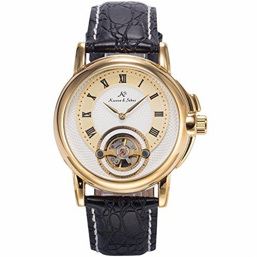 Mix&Rock KS Mens Gold White Dial Analog Automatic Mechanical Tourbillon Bridge Wrist Watch