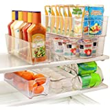 Greenco 6 Piece Refrigerator and Freezer Stackable Storage Organizer Bins with Handles, Clear