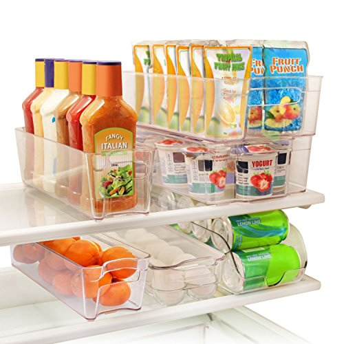 Greenco 6 Piece Refrigerator and Freezer Stackable Storage Organizer Bins with Handles, Clear (Storage Refrigerator Containers)