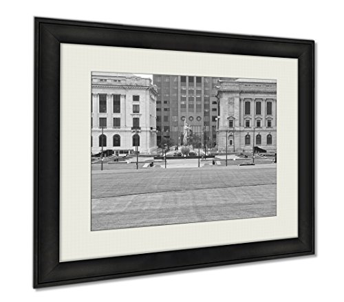 Ashley Framed Prints Cleveland Mall, Wall Art Home Decoration, Black/White, 34x40 (frame size), - State Mall Park Garden