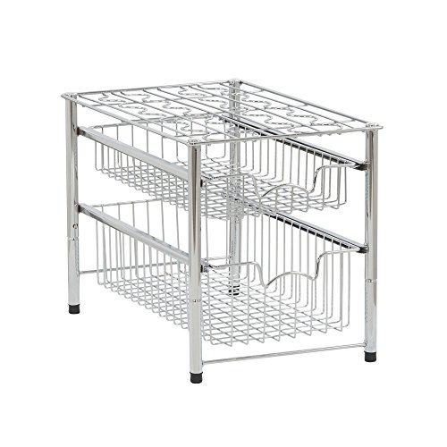 Household Essentials Free Standing Double Pull Out Baskets Under Sink Shelf, Silver by Household Essentials