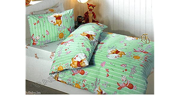 Completo edredón sábanas almohada Winnie the Pooh verde una plaza ...