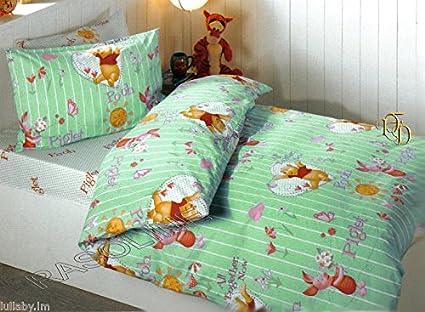 Completo Copripiumino Caleffi Disney.Completo Copripiumino Lenzuola Federa Winnie The Pooh Verde Una