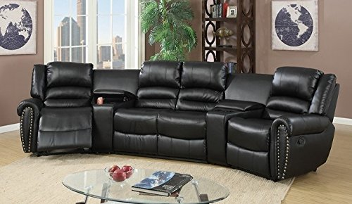 Brando Black Bonded Leather Sectional Sofa by Poundex (Leather Lane Reclining Loveseat)