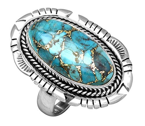 YoTreasure Blue Copper Turquoise Solid 925 Sterling Silver Designer Ring ()