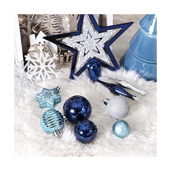 Valery Madelyn Palle di Natale 52 Pezzi di Palline di Natale, 3-5 cm Auguri Invernali Argento e Blu Infrangibili Ornamenti Palla di Natale Decorazione per la Decorazione Dell'Albero di Natale 7 spesavip