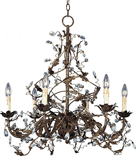 (Maxim 2851OI Elegante 6-Light Chandelier, Oil Rubbed Bronze Finish, Glass, CA Incandescent Incandescent Bulb , 60W Max., Dry Safety Rating, Standard Dimmable, Glass Shade Material, 672 Rated Lumens)