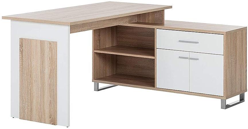 Holzdekor Wei/ß-Schwarz, Stella Trading Manager Schreibtisch B//H//T 140//130 x 76//62 x 65//40 cm Arbeitsplatz