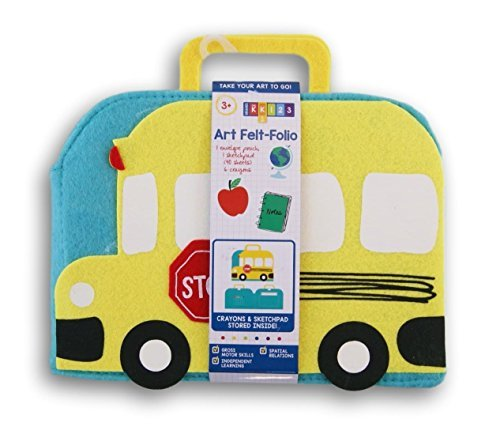 School Bus Shaped Kids Art Felt-Folio with Sketchpad and Crayons