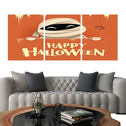 UHOO Modern Flowers PaintingHappy Halloween Mummy with Big Signboard Retro Vintage Orange Background Bedroom Home Decorations 20