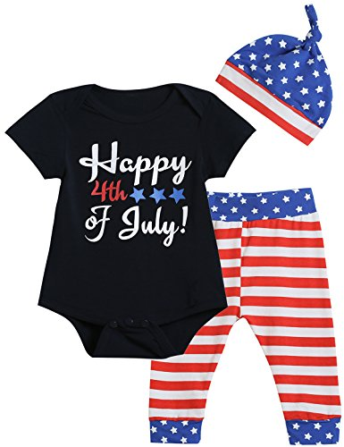 3PCS Baby Boys Girls Outfit Set Happy 4th of July Print Bodysuit American Flag Pants with Hat (0-3 Months)