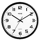 HENSE Modern Concise Design Metal Frame Round Wall Clocks 12-inch Mute Silent Quartz Movement Wall Clock HW79 (Black)