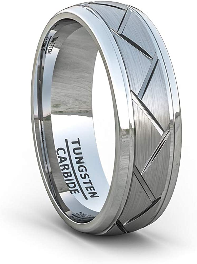 Duke Collections 8mm Black Silver Tungsten Carbide Ring Mens Biker Jewelry Silver Motorcycle Tire Ring Finish Zigzag Groove Mens Wedding Band Tire Comfort Fit