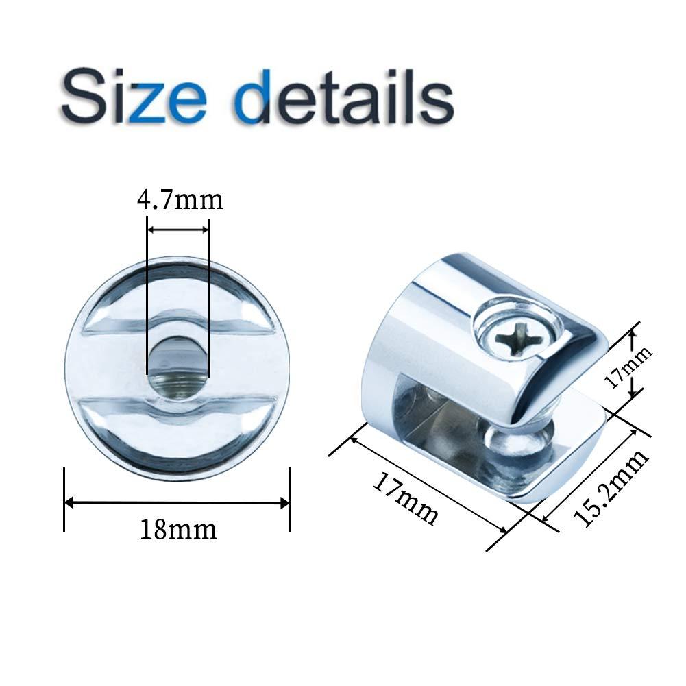 aleaci/ón de Zinc Espejo Ajustable INCREWAY 6-8 mm 8 Soportes para Cristal Soporte para pasamanos y escaleras