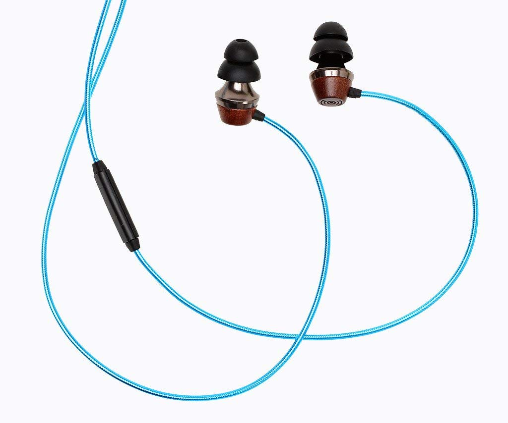 Symphonized ALN 2.0 Premium Genuine Wood in-Ear Noise-isolating Headphones, Earbuds, Earphones with Innovative Shield Technology Cable and Mic Metallic Blue