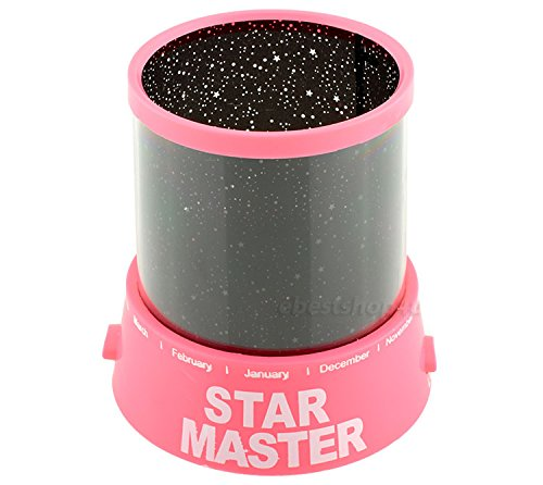 GPCT Star Master [Starry Sky] Cosmos LED Projection Colorful Twilight Romantic Bed Side Night Light Lamp. Great [Mood Relaxing] Light [Gift] For Children/Kids Baby/Infants/Nursery/Bedroom- Pink