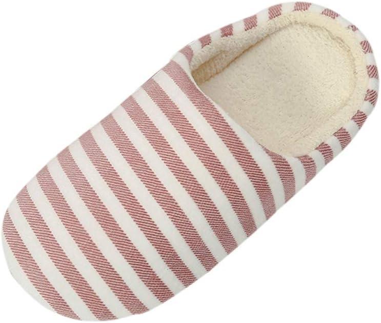Pantuflas lilihot para hombre y mujer, cálidas, de rayas, antideslizantes, de invierno, de algodón, cálidas, suaves, antideslizantes