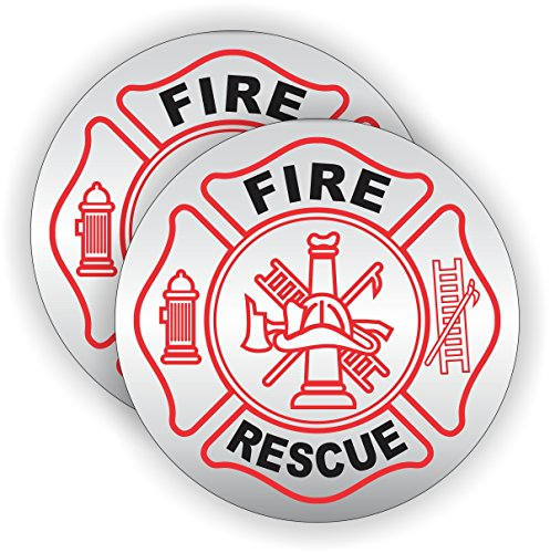 (2) Fire - Rescue Hard Hat Decals / Helmet Stickers Firefighter Motorcycle Police Sheriff Squad Emergency Rescue AED CPR Ambulance Fire Truck First Aid Labels Badge