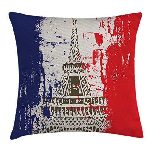 "Ambesonne Paris Throw Pillow Cushion Cover, Grunge Style French Flag with Eiffel Tower City of Love in Retro Colors Europe, Decorative Square Accent Pillow Case, 16"" X 16"", Blue Beige"