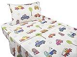 J-pinno Cute Cartoon Car School Bus Printed Twin Sheet Set for Kids Boy Children, 100% Cotton, Flat Sheet + Fitted Sheet + Pillowcase Bedding Set (car)
