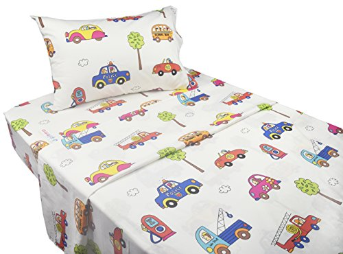 J-pinno Cute Cartoon Car School Bus Printed Twin Sheet Set for Kids Boy Children, 100% Cotton, Flat Sheet + Fitted Sheet + Pillowcase Bedding Set (car)