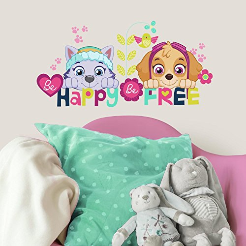 RoomMates RMK3662SCS Paw Patrol Skye And Everest Be Happy Quote Peel And Stick Wall Decals
