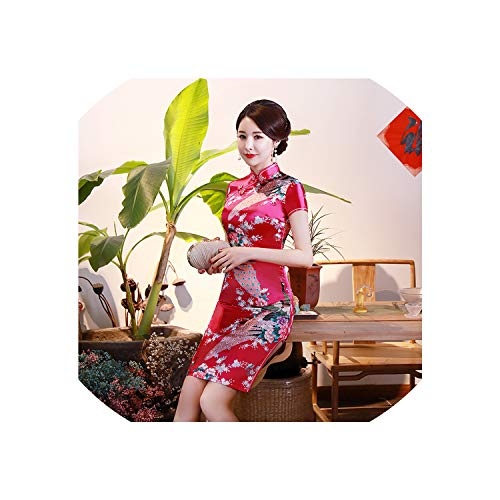 (2019 Chinese National Cheongsam Female Peacock Silk Short Dresses Costume Women Party Dress Qipao,Rose Red,XXL)