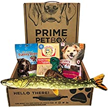 """Prime Pet Box Wildlife Dog Gift Box Care Package - Made in the USA Premium Treats, 18"""" Fish & Duck Birdball Toy"""