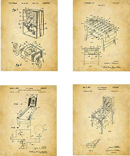 - Arcade Patent Wall Art Prints - set of Four (8x10) Unframed - wall art decor for game room